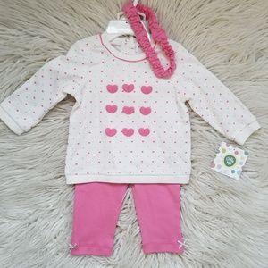 Little Me Pink Heart Top Pink Pants Set